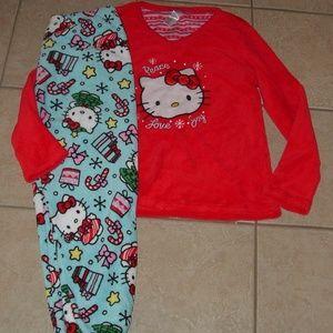 HELLO KITTY Sz Large 12/14 Soft Plush Pajama Set